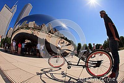 Millennium Park Chicago Fish Eye Editorial Photo