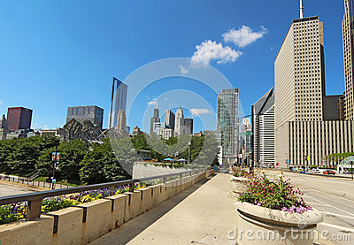 Millennium Park and a partial skyline of Chicago Editorial Photo
