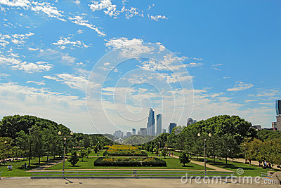 Millennium Park and a partial skyline of Chicago Editorial Stock Photo