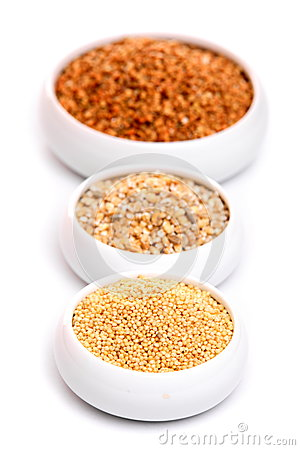 Millet, buckwheat grains and barley