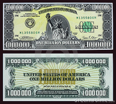 Million Dollar Bill Editorial Stock Photo