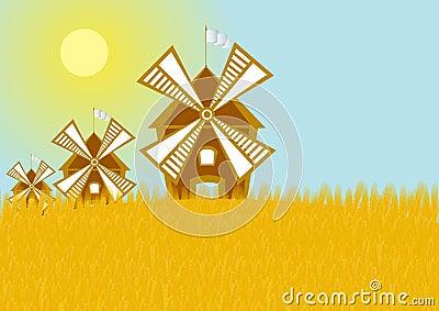 Mills in the grain field