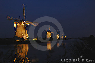 Mills of Kinderdijk in floodlight