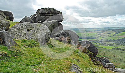 Millstone and Rock Stack on a Derbyshire Hill Side