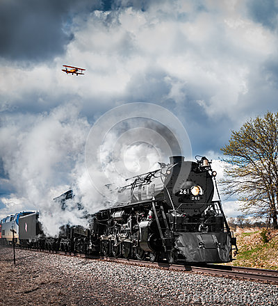 Milwaukee Road #261 & Bi-Plane Editorial Photography