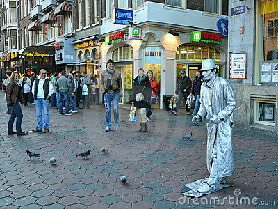 Mime in Amsterdam streets Editorial Stock Image