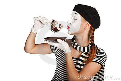 Mime comedian drinking coffee