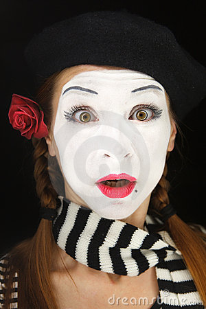 Mime portrait with surprised face expression