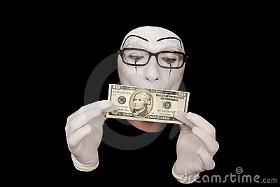 Mime in white gloves  with 10 dollar denomination