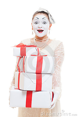 Mime woman  holding many boxes of presents