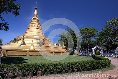 Mimetic Gold Pagoda with blue sky
