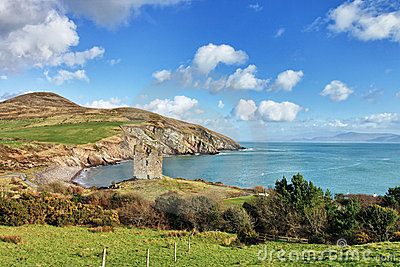 Minard Castle on a hill, Co.Kerry in Ireland.