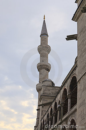Minaret of the Blue Mosque in Istanbul, Turkey