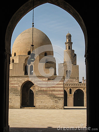 Minaret and central yard. Ibn Tulun mosque. Cairo.