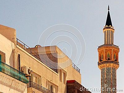 Minaret in Hammamet, Tunisia