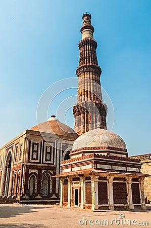 The minaret of Qutub Minar in Delhi
