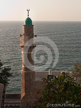 Minaret with sea background