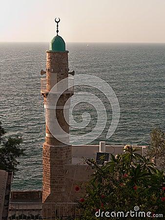 Minaret with sea background