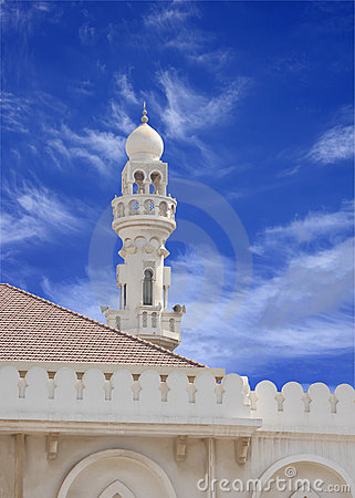 Minaret of Sheikh Isa Bin Ali Mosque on blue sky