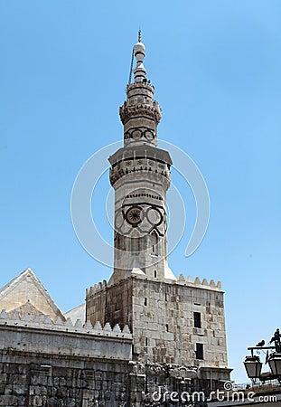The Minaret of Umayyad Mosque in Damascus, Syria.