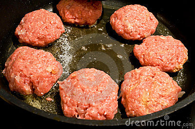 Mince meat balls in frying pan