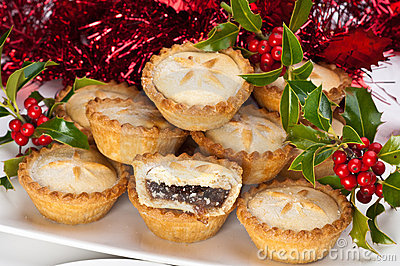 Mince Pies for Christmas with Holly and Berries