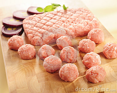 Minced ham. Arrangement on a cutting board. Stock Photo