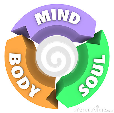 Mind Body Soul Arrows Circle Cycle Wellness Health Stock Photo