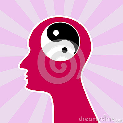 Mind yin yang concept head
