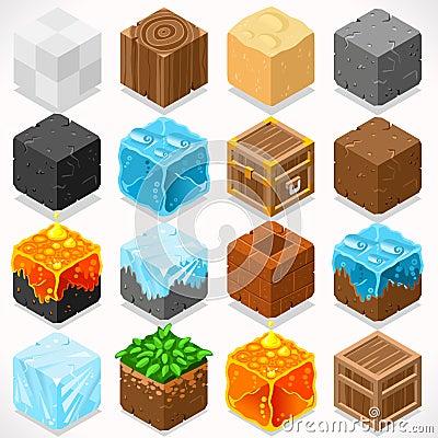 Free Mine Cubes 03 Elements Isometric Stock Image - 60052351