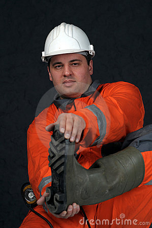 Free Mine Worker In Boots Royalty Free Stock Photography - 4872147