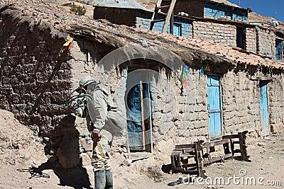 Miner entering cerro rico mine in bolivia Editorial Stock Photo