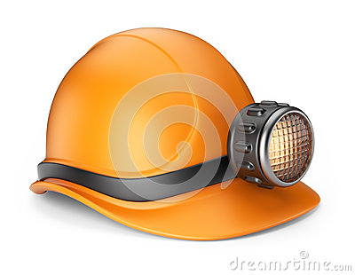 Miner helmet with lamp. 3D Icon