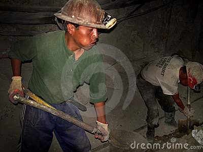 Miners of Cerro Rico, Bolivia, South America Editorial Photo