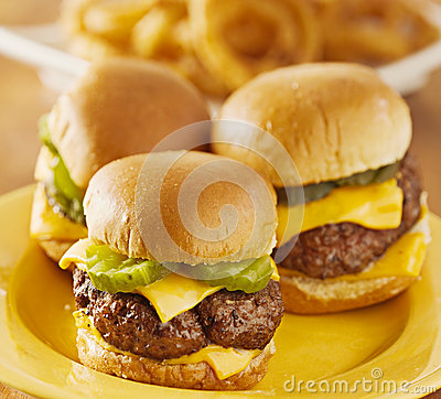 Mini burger sliders trio