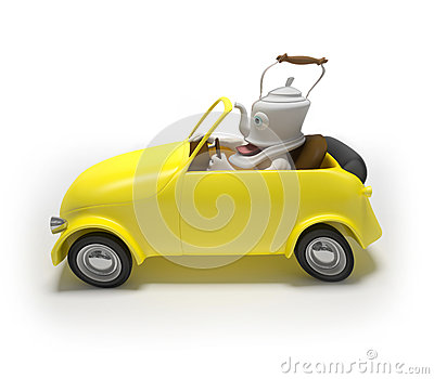 Mini car with teapot