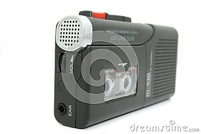 Mini Cassette Recorder Isolated on White Stock Photo