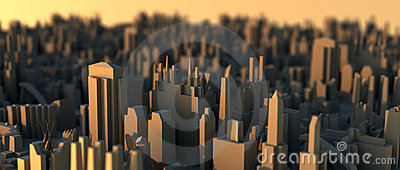 Mini city scape on sunset air shot