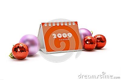 Mini desktop calendar and Christmas ornaments