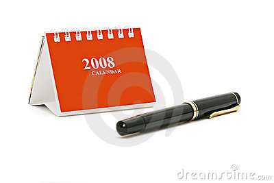 Mini desktop calendar and pen