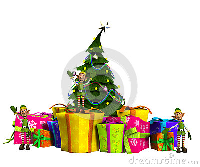 Mini elfy Na teraźniejszość Z choinką