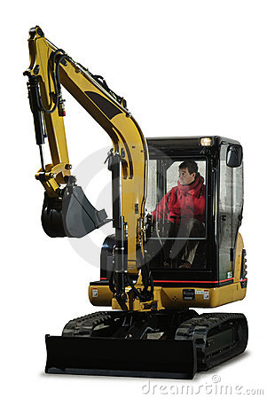 Mini excavator with driver