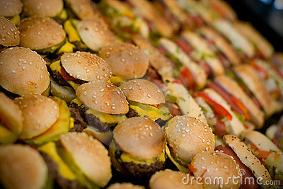 Mini hamburgers and hotdogs