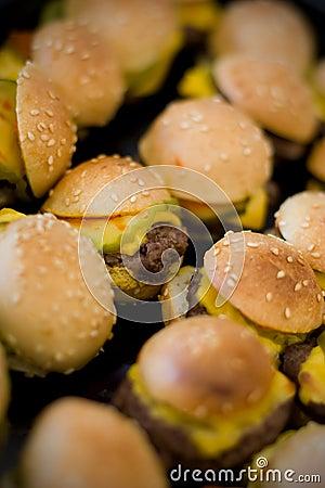 Mini hamburgers and hotdogs