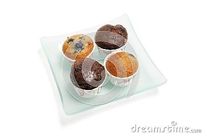 Mini Muffins on Glass Plate
