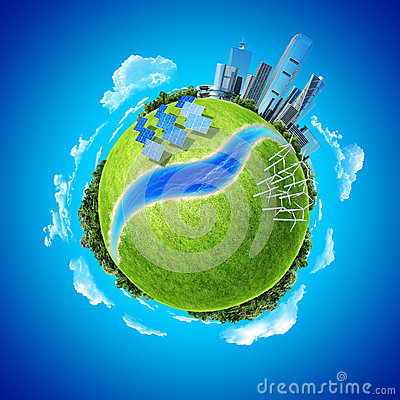 Mini planet concept green energy in modern city
