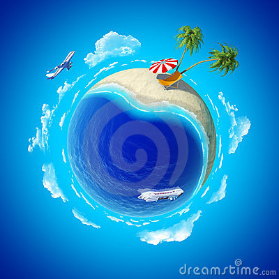 Mini planet concept. Sea shore holiays.