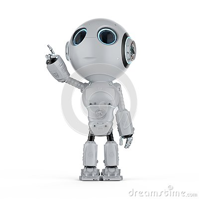 Free Mini Robot Finger Point Stock Photography - 128092502