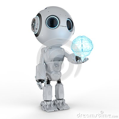 Free Mini Robot Hold Brain Royalty Free Stock Photo - 126907305