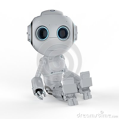 Free Mini Robot Sit Royalty Free Stock Photo - 130649275